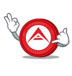 Call me ark coin mascot cartoon vector
