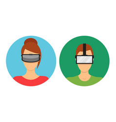 Cartoon virtual reality glasses avatars set vector