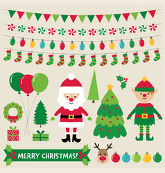 Christmas characters and decoration set vector