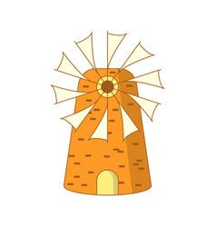 Cute cartoon colored greek mill vector