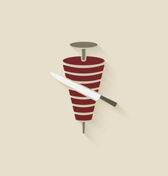 Doner kebab with knife vector