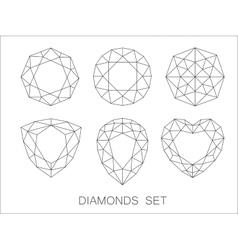 Elegant thin line diamonds icons logo set vector