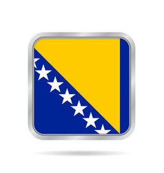 Flag of bosnia and herzegovina square button vector
