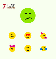Flat icon emoji set of cold sweat frown party vector