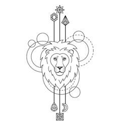geometric lion symbol vector image vector image