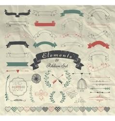 Hand Drawn Design Elements and Ribbons Set vector image vector image