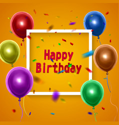 happy birthday card with colorful balloons on vector image