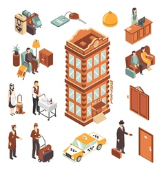 Hotel isometric icons set vector