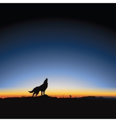 Majestic sunrise and wolf vector