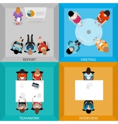 Meetings Of Business People Top View Set vector image vector image