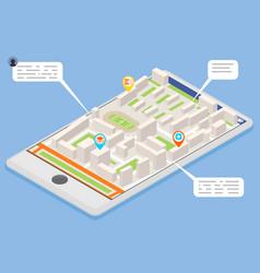 Mobile smart phone landmark showplace map pointer vector