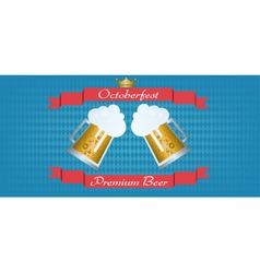 Oktoberfest beer festival with red ribbon vector