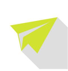 Paper airplane sign pear icon with flat style vector