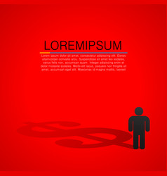 person silhouette with shadow of dollar sign vector image