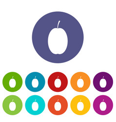 plum set icons vector image