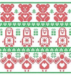 Red green scandinavian vintage christmas pattern vector