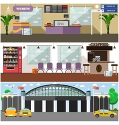 Set of airport interior concept design vector