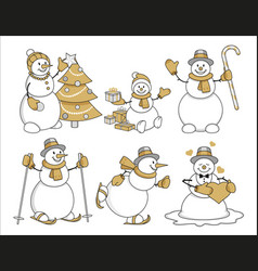 set of cartoon snowman gold vector image vector image