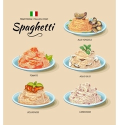 Spaghetti or pasta dishes set in cartoon vector image