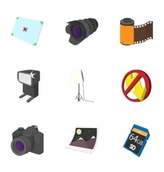 Taking photo icons set cartoon style vector image