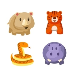 Toy African Animals Icon Set vector image