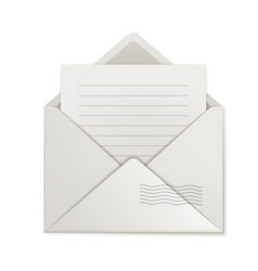 Uncovered envelope lined paper isolated vector