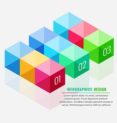 Colorful 3d boxes infograph vector