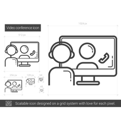 Video conference line icon vector