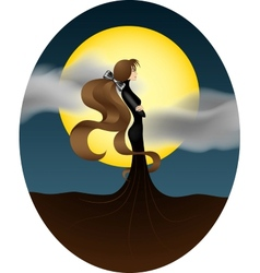 Young girl with a big yellow moon vector