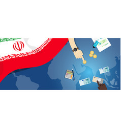 Iran economy fiscal money trade concept vector