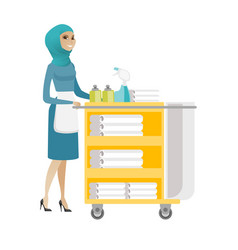 Muslim chambermaid pushing cart with bed clothes vector