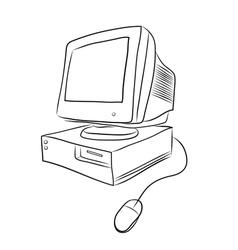 old desktop computer vector image