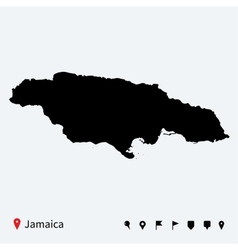 High detailed map of jamaica with navigation pins vector