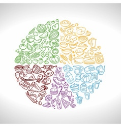 Doodle food icons eat well plate vector