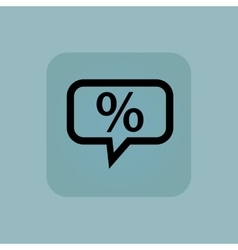 Pale blue percent message icon vector