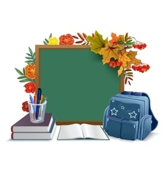 Back to school blackboard backpack books on vector
