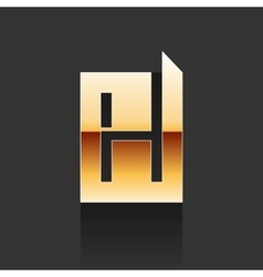 Gold letter h shape logo element vector