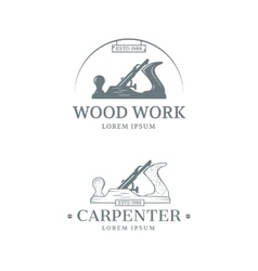 Woodwork label design vector