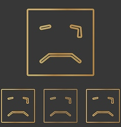 Bronze squared crying face logo set vector