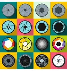 Camera shutter icons set flat style vector