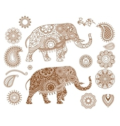 Indian elephant with mehendi patterns vector