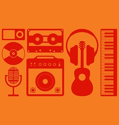 Music instrument background flat design vector