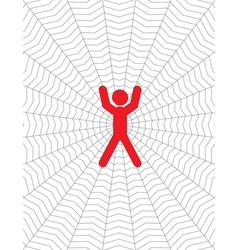 Person entangled in a cobweb vector