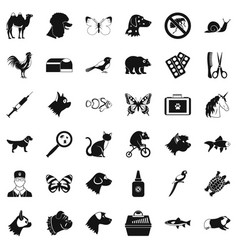 Animal icons set simple style vector