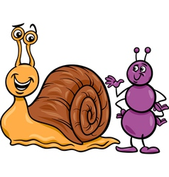 ant and snail cartoon vector image