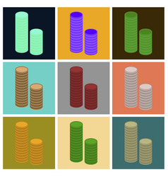 Assembly of flat icons stacks of coins vector