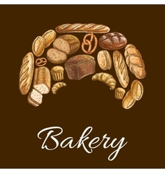 Bakery shop croissant symbol of bread icons vector image