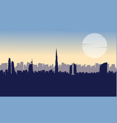Beauty landscape dubai at sunset silhouettes vector