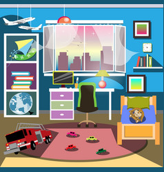 Boy bedroom interior vector