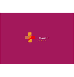 bright logo on medicine and health cross vector image vector image